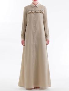 Musulmano Maxi Dress Donna Camicia Dress manica lunga Ruffles Perla Arabian Clothing