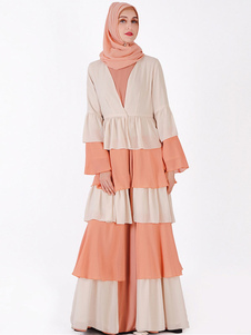 Kimono musulmán que cubre el vestido gasa con gradas con volantes campana de manga árabe