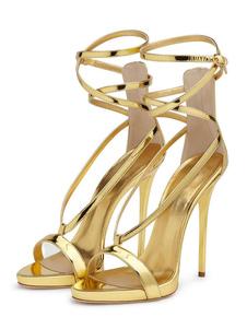 Sandálias De Salto Alto Ouro Aberto Toe Salto De Estilete Sandálias De Tiras De Noite Para As Mulheres