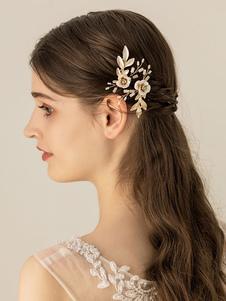 Gancho de cabelo de detalhe de flores de liga de Headpieces de casamento de ouro para noiva
