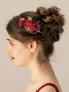 أحمر الزفاف أغطية الرأس سروال قصير الزهور التفاصيل اكسسوارات للشعر للعروس