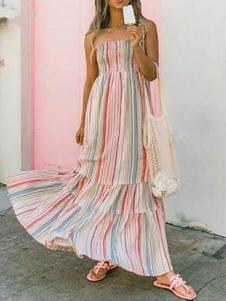 Rainbow Stripe Summer Dress Женщины Длинное платье без рукавов