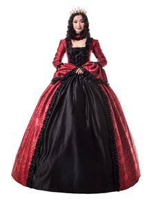 Disfraz Carnaval Vestidos retro rojos con volantes mate satinado estilo victoriano estampado floral dress mujeres ropa vintage Halloween Carnaval