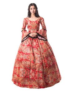 Vermelho Retro Trajes Mulheres Guarnição Do Laço Guarnição Cetim Fosco Mardi Gras Vestido Era Vitoriana Estilo Roupas Vintage Halloween