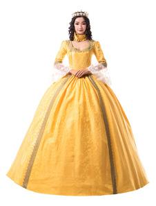 Disfraz Carnaval Trajes retro dorados de encaje de la época victoriana con satén mate para mujer Ropa vintage Halloween Carnaval