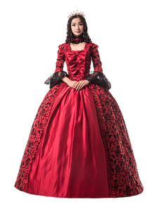 Disfraz Carnaval Rojos trajes retro mujer estampado floral arcos de encaje mate satén Mardi Gras vestido de época victoriana estilo Vintage ropa Halloween Carnaval