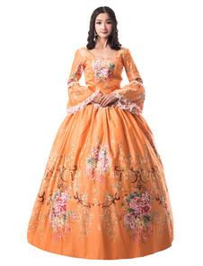 Disfraz Carnaval Naranja trajes retro estilo victoriano conjunto satinado mate estampado floral vestido de halloween ropa vintage Carnaval