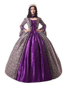 Disfraz Carnaval Uva disfraces retro estilo victoriano satinado mate vestido de halloween con volantes encaje hasta ropa vintage mujer Carnaval