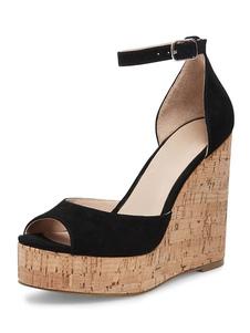Sandálias de cunha preta camurça peep toe plataforma tornozelo tira sandália sapatos para mulheres
