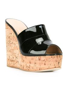 Sandálias de cunha de sandálias de peep toe plataforma sexy ouro para mulheres
