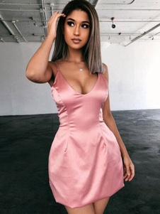Sexy Bodycon Abiti rosa senza maniche Night Out Dress Women Slip Dress