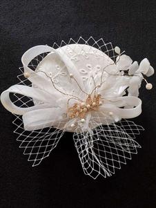 قبعة الزفاف الأبيض القطن اكسسوارات للشعر الزفاف