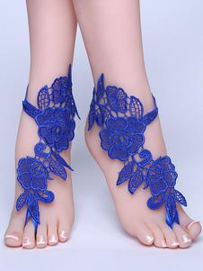 Calçado De Casamento De Praia Azul Laço Flores Detalhe Pulseira De Tornozelo