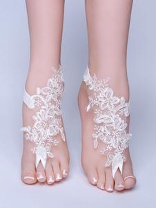 Calçado De Casamento De Praia Branco Laço Flores Detalhe Pulseira De Tornozelo