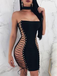 Vestido de club para mujer Sin tirantes de encaje sin mangas de lycra spandex que forma el vestido sexy