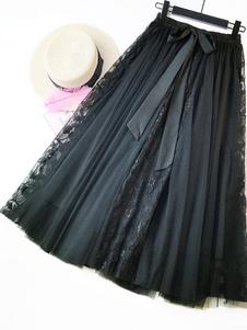 Макси-тюль юбка женская кружева патч с высокой талией лук эластичная талия летняя юбка