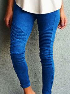 Женские узкие брюки с карманами из натуральной талии