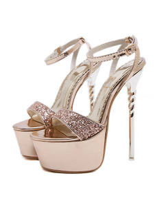 أحذية عالية الكعب عام2020الصنادل المرأة منصة مفتوحة تو رباط الكاحل صندل أحذية بريق مثير