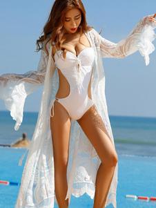 Cover Up For Woman Estampado floral de encaje de manga larga Summer Beach Cover Up