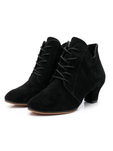 Scarpe da ballo da donna Scarpe da ballo stringate nere con punta tonda