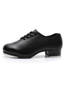 Женская обувь для танцев из натуральной кожи с круглым носком на шнуровке
