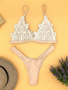 Mulheres Biquíni Swimsuit Two Tone Straps Crochet Backless Verão Praia Swimwear