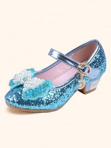 Свадебные туфли для девочек с блестками и круглым носком с бантом
