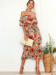 Vestido de verano floral fuera del hombro vestido de playa de volantes impresos