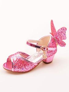 Блестящие туфли для вечеринки Pink Peep Toe Butterfly Подробнее Цветочницы
