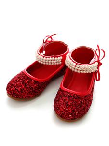 Scarpe Rosse da Festa 2020 Glitter a Punta Rotonda Perle Cinturino Alla Caviglia Scarpe per Bambini Scarpe da Sposa Fiore Ragazza