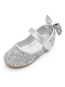 Sapatos De Festa De Prata Prata Rodada Toe Bow Wedding Flower Girl Shoes
