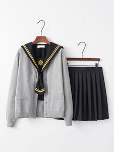Костюм школьной формы черный вышитый топ с длинным рукавом с плиссированной юбкой 3 шт хэллоуин школьница косплей