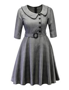 Retro midi dress mulheres 1950 manta meia mangas cinto peter pan collar swing dress