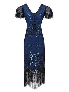 Платья-хлопушки 1920-х годов Блестки с бахромой и рукавом Большой костюм Гэтсби Женщины Ретро костюмное платье Хэллоуин