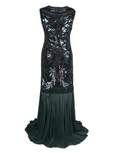 Женские платья-хлопушки 1920-х годов Великий Гэтсби Костюм Блестки Плиссированное платье в стиле ретро Хэллоуин