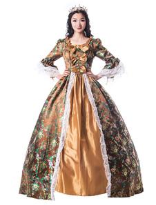 Disfraz Carnaval Mujeres trajes retro arcos de encaje mate satinado estilo victoriano vestido ropa vintage Halloween Carnaval