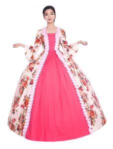 Розовые Ретро Костюмы Женщины Цветочный Принт Рюшами Атласная Хэллоуин Викторианский Стиль Винтажной Одежды