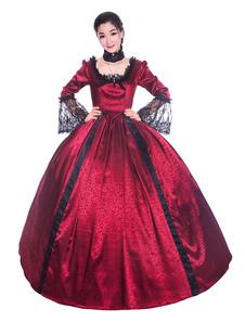 Disfraz Carnaval Trajes retro rojos arcos de encaje satinado de Halloween estilo victoriano vestido de mujer ropa Vintage Carnaval