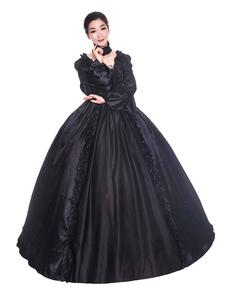 Disfraz Carnaval Disfraces retro negros con volantes de satén mate de estilo victoriano de Halloween Vestido Mujer Ropa vintage Carnaval