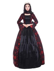 Disfraz Carnaval Mujeres trajes retro rojo oscuro con volantes arco estampado floral satinado estilo victoriano ropa vintage Halloween Carnaval