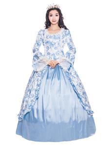 Disfraz Carnaval Trajes de las mujeres trajes de satén mate de encaje de satén recortar volantes estilo victoriano estilo floral dress baby blue vintage clothing Halloween Carnaval