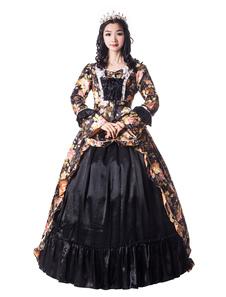 Disfraz Carnaval Negro Retro Disfraces Mujeres Estampado floral Arcos Mate Satén Pageant Vestido estilo victoriano de época Ropa Vintage Halloween Carnaval