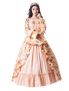 Disfraz Carnaval Vestidos Retro dorados Arcos Ruffle Satén Vestido del desfile Victoriano Estampado floral Mujeres Vintage Clothing Halloween Carnaval