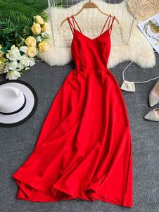 Maxi Slip Dresses vestido sem mangas até o chão vermelho para as mulheres
