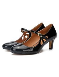 Nero Mary Jane Scarpe Donna 2020 Punta Rotonda Intagliata Fibbia Dettaglio Scarpe Vintage