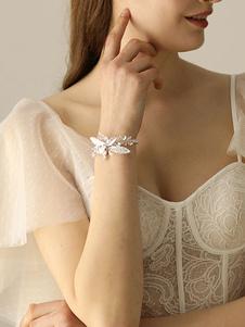 Pulseira de casamento de pulso pulseira de noiva de prata