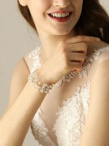 Pulseira de pulso de casamento prata pérolas strass pulseira nupcial