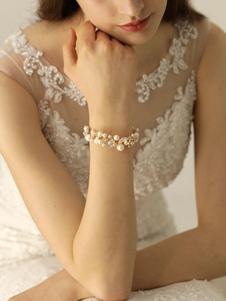 Золотой свадебный браслет Жемчуг Стразы Свадебный наручный корсаж