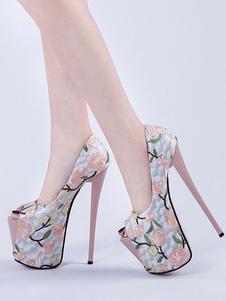 Pink Sexy Shoes Women Platform Peep Toe Floral impreso tacones altos