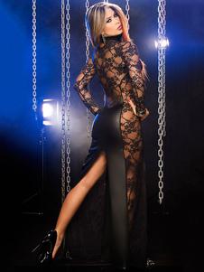 Vestido de fiesta sexy con mangas largas de cuero de la PU de encaje de cuello club de mujer Vestido de fiesta sexy patentado